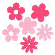 Filt blomsterrosa, lyserød 3,5 cm 96stk