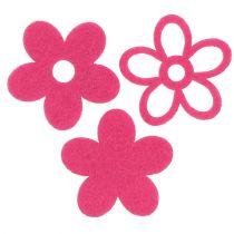 Følte blomster til at drysse lyserød som dekorationssæt Ø4cm 72stk