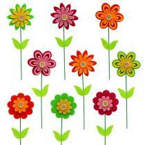 Følte blomster som et stik, forskellige farver 7cm L25cm 18stk