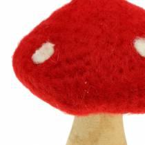 Toadstool efterårsdekoration rød H13,5cm 2stk