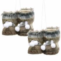 Juletrædekorationer par filtsko med pels 10cm x 8cm 2stk