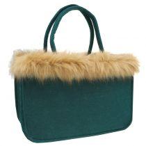Filtpose med pelskantgrøn 38cm x 24cm x 20cm