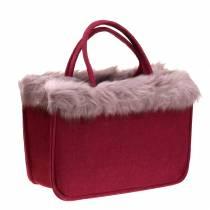 Filtpose med pelskant mørkerød 38cm x24cm x 20cm