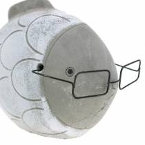 Dekorativ fisk med briller blå hvid 15,5 / 14,5 cm 2stk