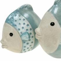 Dekorativ fisketerrakotta blå, grå H14cm / 12,5cm sæt med 2