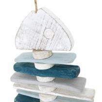 Maritim fiskedekoration lavet af drivvedblåt, hvidt L70cm
