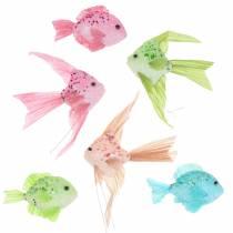Dekorativ fisk til hængende grøn lyserød orange blå 13-24 cm 6stk