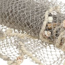 Fiskenet med skaller og drivved 135cm