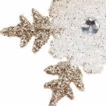 Juletrædekorationer snefnug glitter perle 2stk