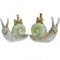 Venlig dekorativ snegl med ledsagere, forår, borddekoration, hussnegl 2stk