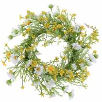 Blomsterkrans med træanemon hvid, gul Ø30cm