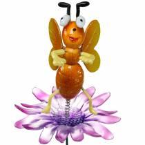 Blomsterbi på blomst med metalfjedre orange, violet H74cm