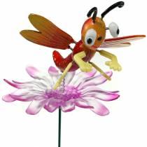 Haveprofil guldsmed på blomst med metalfjederorange, lyserød H74cm