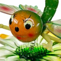 Dekorativ prop sommerfugl og blomst med metalfjedre grøn, orange H70cm