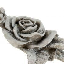 Rose til grav smykker grå 16cm x 13.5cm 2stk