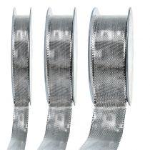 Gavebånd sølv med trådkant 25m