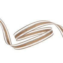Gavebånd med trådkant lysbrun 15mm 20m