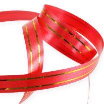 Gavebånd 2 guldstrimler på rød 10 mm 250m