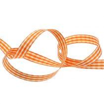 Gavebånd rutet orange 15mm 20m