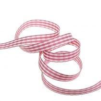 Gavebånd check pink 15mm 20m