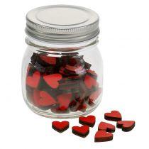 Hjerter røde i et glas 9 cm