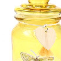 Glaskrukke bonboniere gul Ø11cm H15.5cm