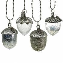 Juletrædekorationer acornglas sølv antik 11 cm 4stk