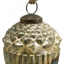 Agern til at hænge, efterårsfrugter, trædekorationer, ægte glas, antik look Ø7,5cm H10,5cm 2stk.