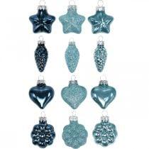 Mini juletræspynt blanding glasblåt, glitter assorteret 4cm 12stk