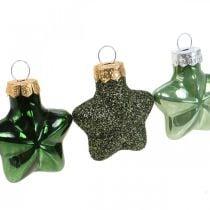 Mini juletræspynt blanding grønt glas Julepynt diverse 4cm 12stk