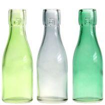 Glasflaskevase Ø5cm H16cm grøn / grå 6stk