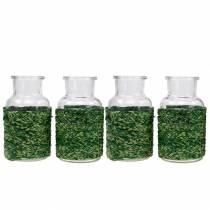 Glasflaske med bastgrøn H10cm 4stk