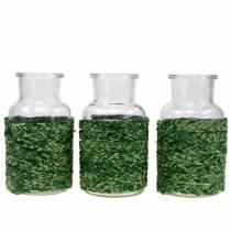 Glasflaske med bastgrøn H12.5cm 3stk