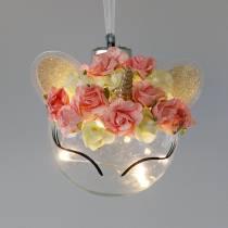 Julekugle enhjørning med LED lys kæde og blomster gul, rød, gennemsigtig glas, papirroser Ø8cm Til batterier