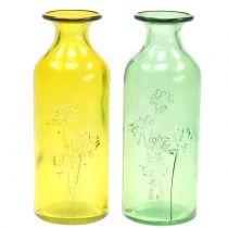 Glasvaseflaske gul, grøn H19cm 2stk