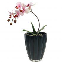 """Glasvase """"Bloom"""" mørkeblå Ø14cm H17cm"""
