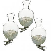 Glasvase med klipsglitter og perler Ø4.9cm H9.5cm klar 3stk