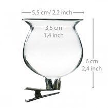 Glasvasklokke med klips klar Ø5,5cm H6cm 4stk