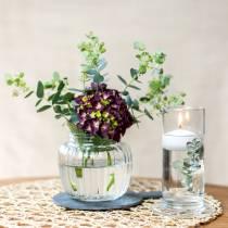 Vase med ribbet glas Ø11cm H10cm