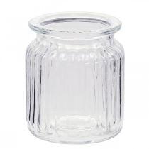 Vase i ribbet glas Ø7,5cm H9cm
