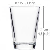 Glasvase klar Ø8cm H11cm til borddekoration
