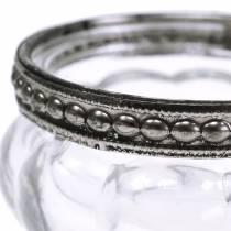 Antikt telysglas med metalkant Ø6cm H3.5cm