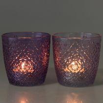 Glaslykt lilla Ø9cm H9cm 2stk