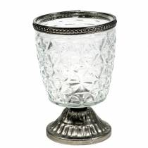 Vindvind i glas i bunden antik med metalfælge Ø9cm H13.5cm