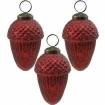 Tredekorationer kegler rødt ægte glas 9cm 3stk