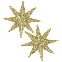 Glitter stjerne guld Ø10cm 12stk