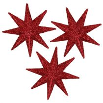 Glitter stjerne rød Ø5cm 20stk