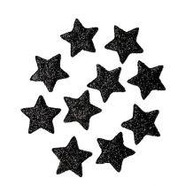 Glitter stjerne sort 2,5 cm 100stk