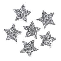 Glitter stjerne sølv Ø2,5 cm 48p