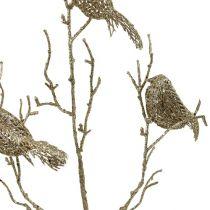 Glittergren med fugle 75 cm guld